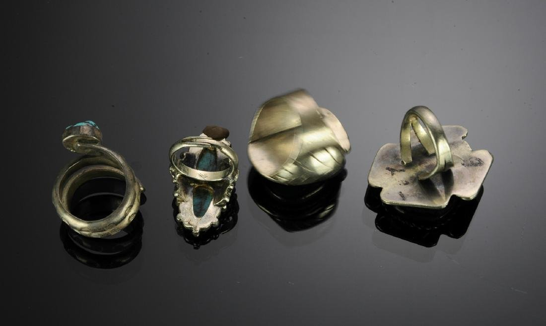 Four Silver & Turquoise Native American Rings - 2