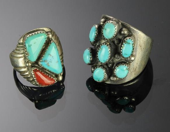 Two Heavy Sterling Silver & Turquoise Rings