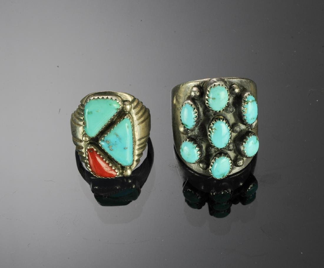 Two Heavy Sterling Silver & Turquoise Rings - 2