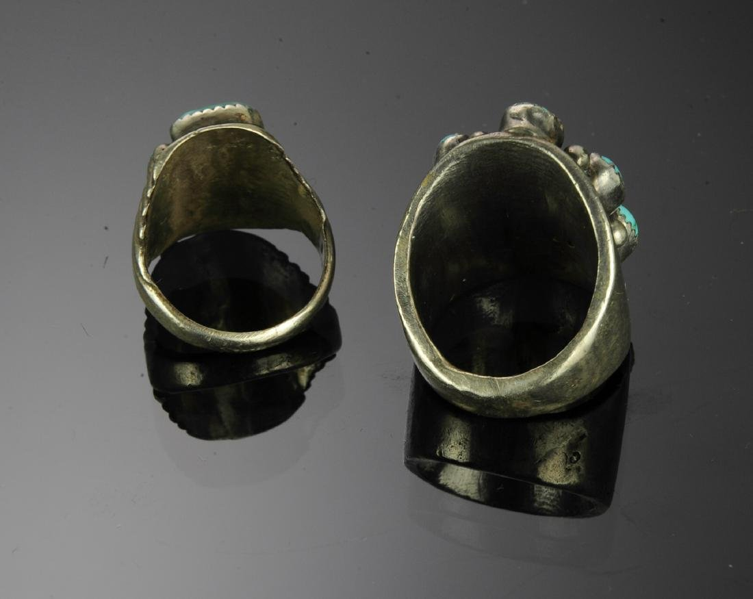 Two Heavy Sterling Silver & Turquoise Rings - 3