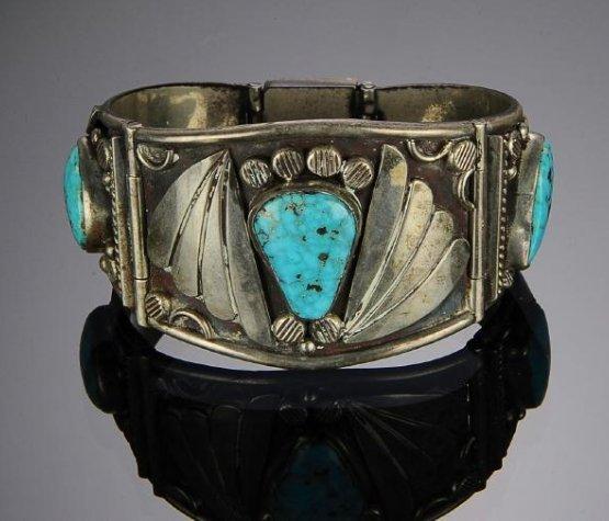 2 Navajo Silver - Turquoise Bracelets