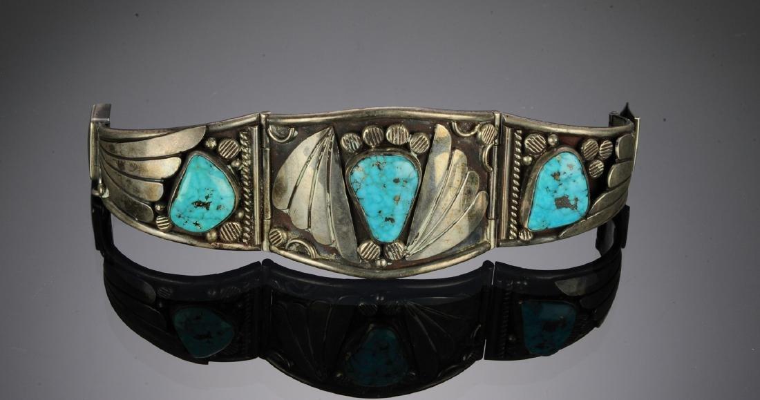 2 Navajo Silver - Turquoise Bracelets - 2