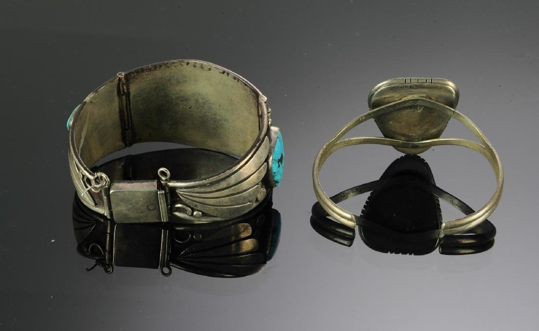 2 Navajo Silver - Turquoise Bracelets - 5