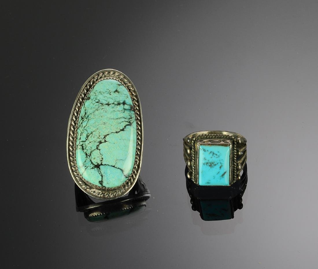 Two Sterling Silver and Turquoise Rings