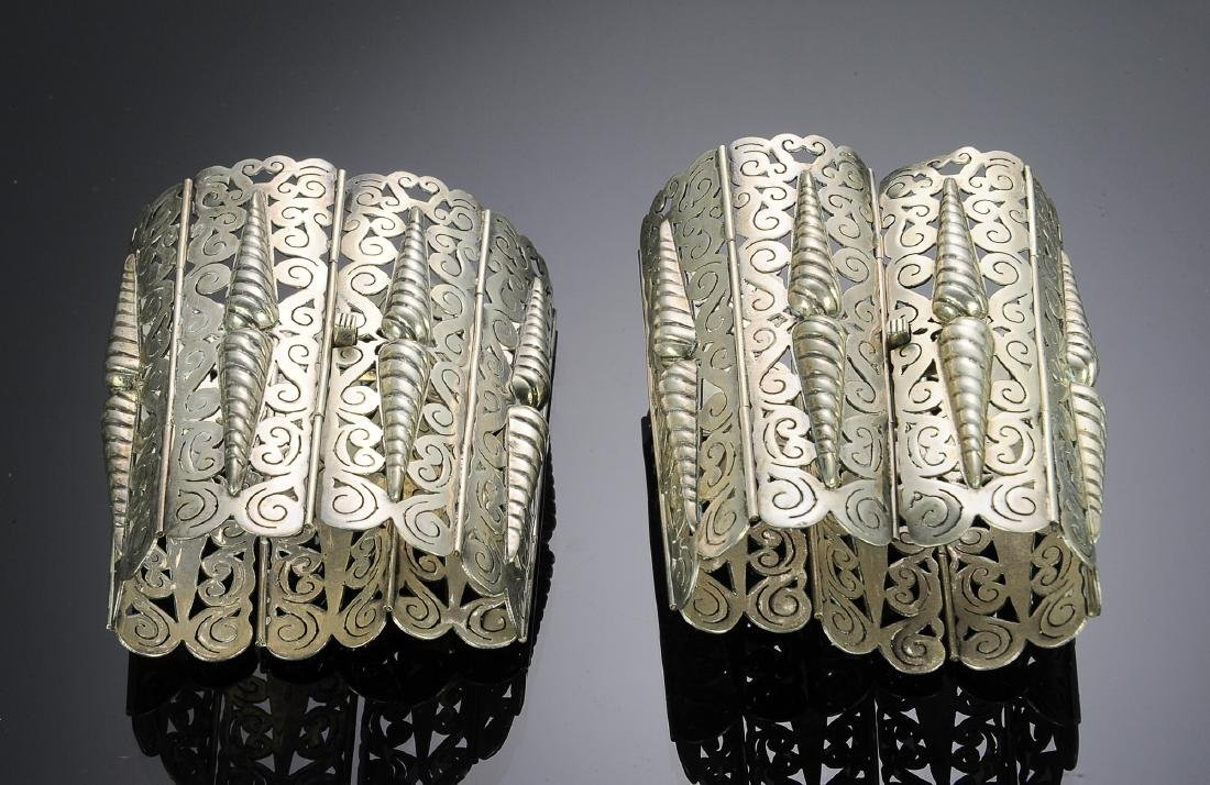 Two Large Sterling Bracelets C. Molina - Mexico
