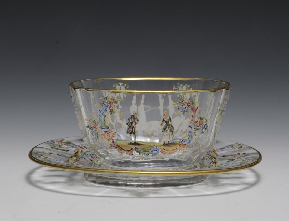 Lobmeyr Enameled Bowl & Plate