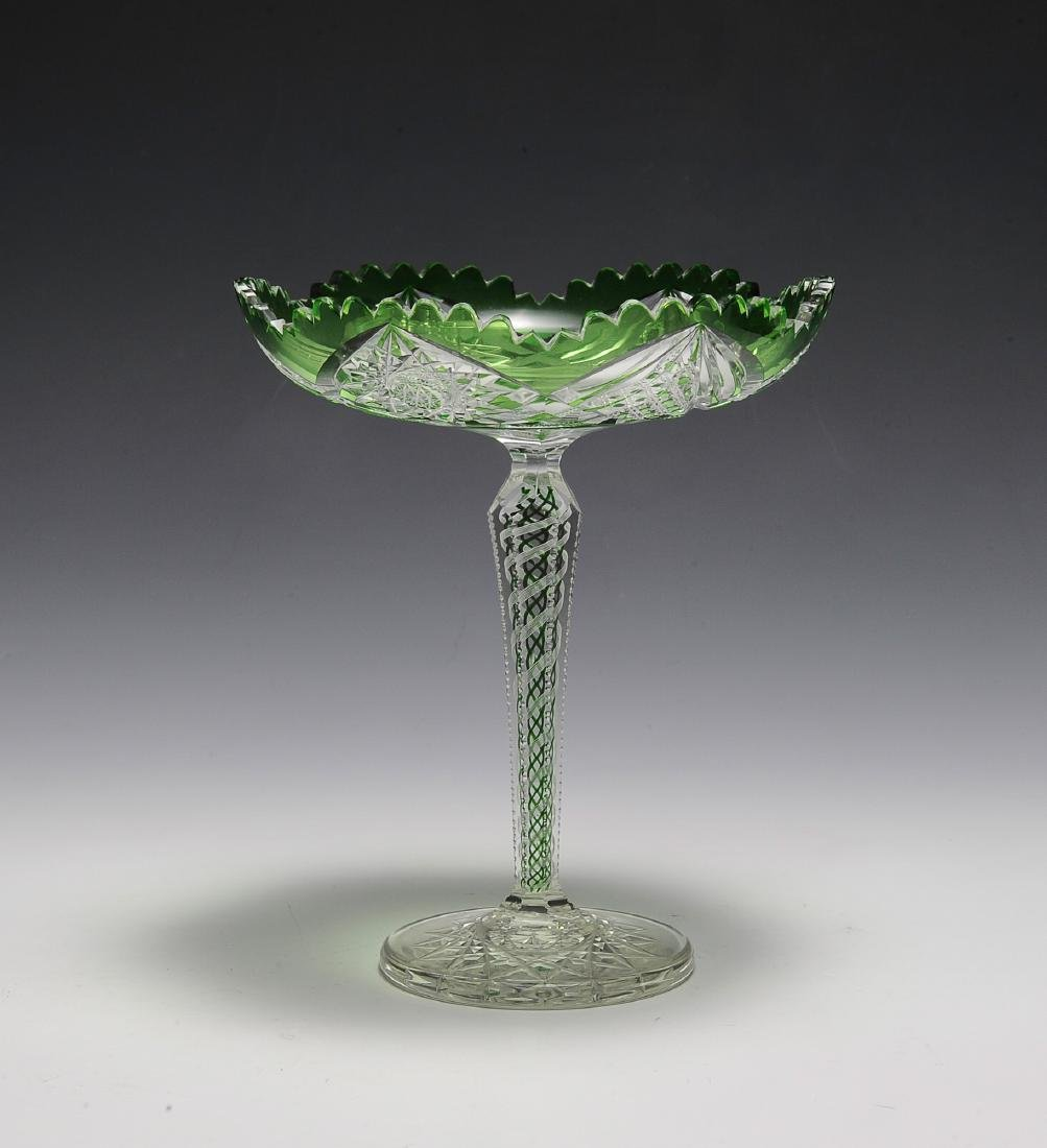 Green to Clear Compote - Swirl Stem