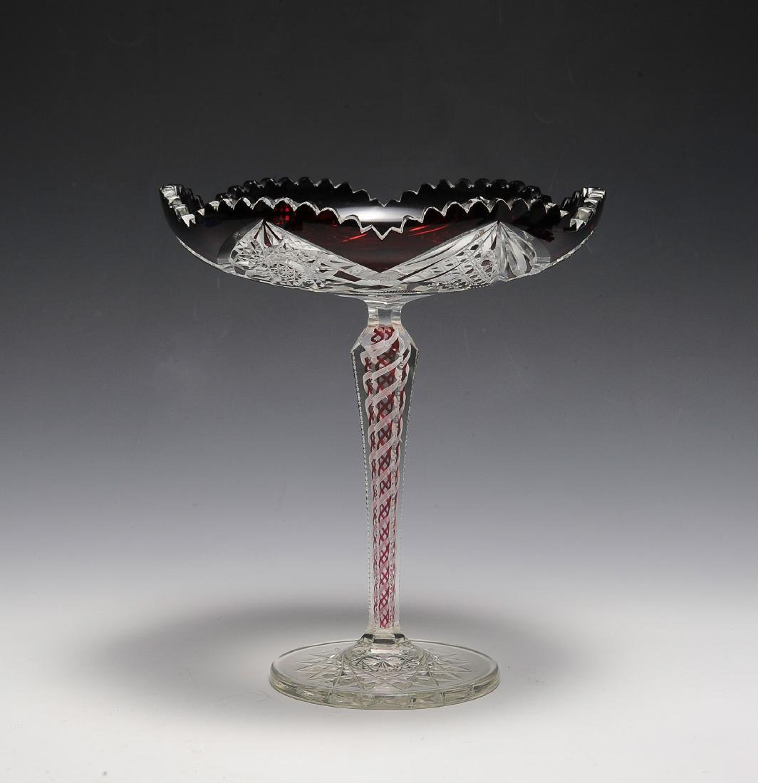 Ruby to Clear Compote - Swirl Stem