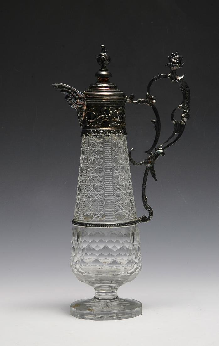 A Victorian Crystal & Plate Ewer