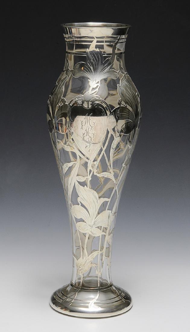 Gorham Silver Over Steuben Glass Vase