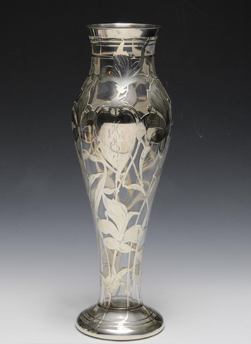Gorham Silver Over Steuben Glass Vase - 2