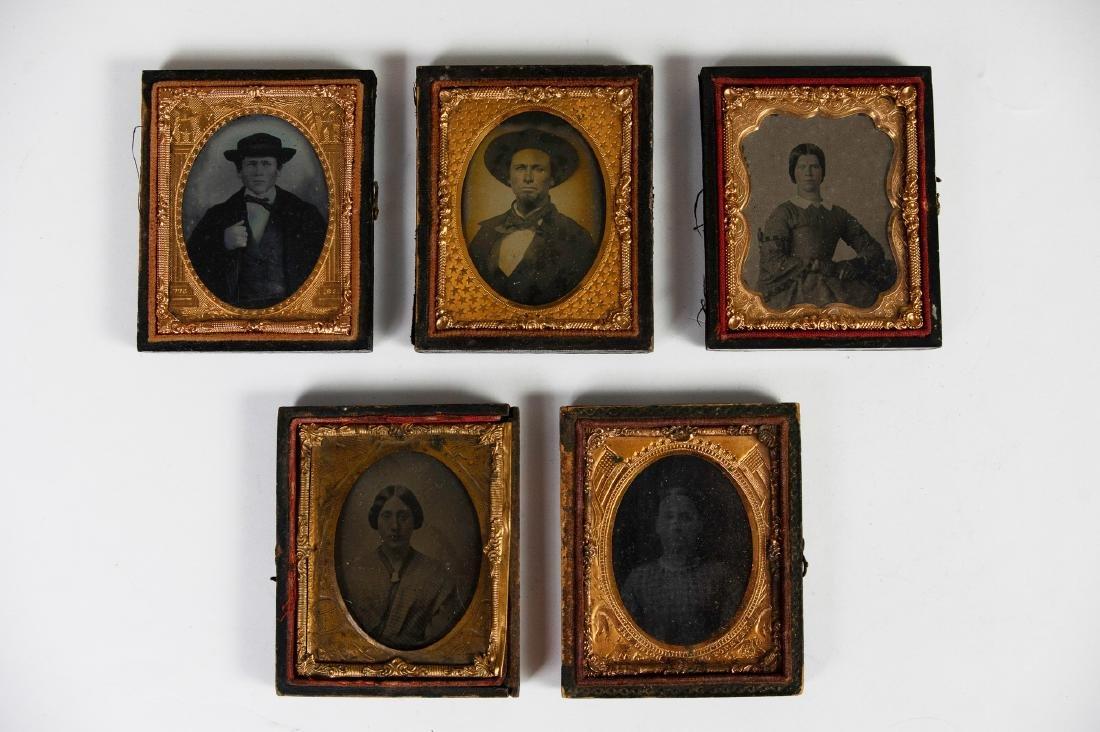 Five 19th Century Photos in Patriotic Theme Cases