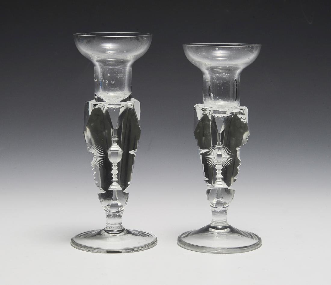 RARE Crystal Candlesticks with Symbolism