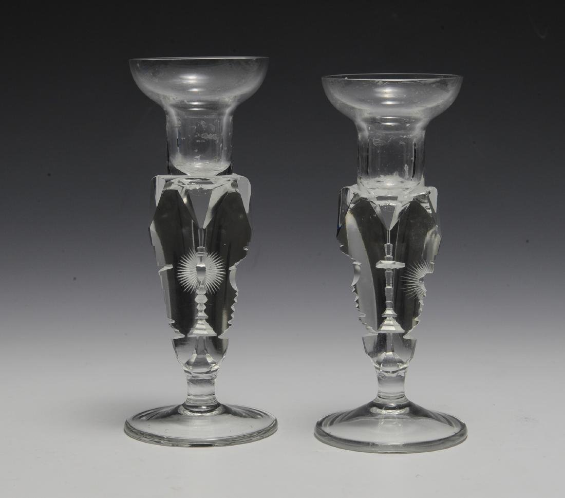 RARE Crystal Candlesticks with Symbolism - 2