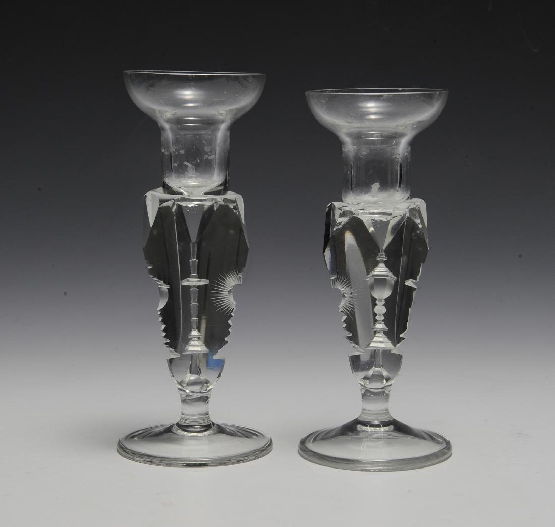 RARE Crystal Candlesticks with Symbolism - 3