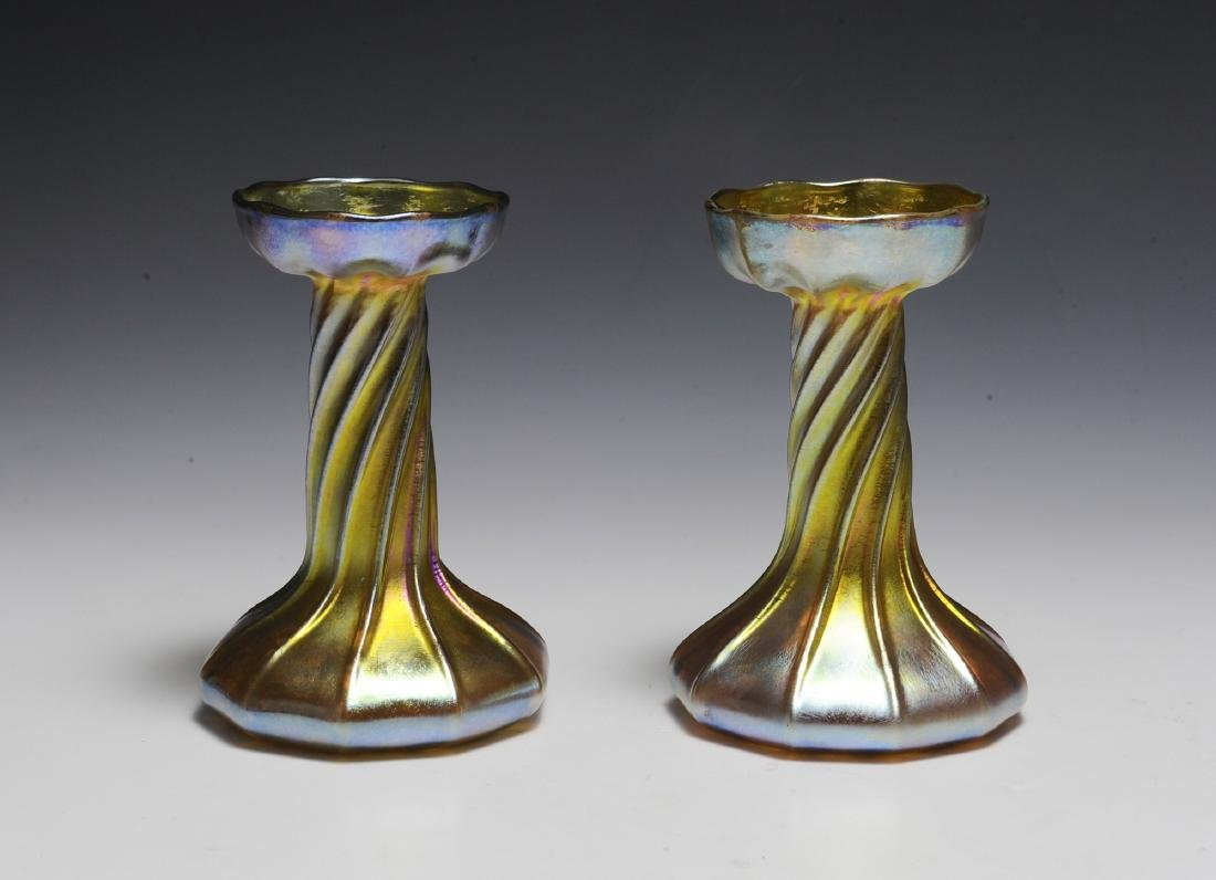 Pair of Tiffany Gold Favrile Candle Sticks
