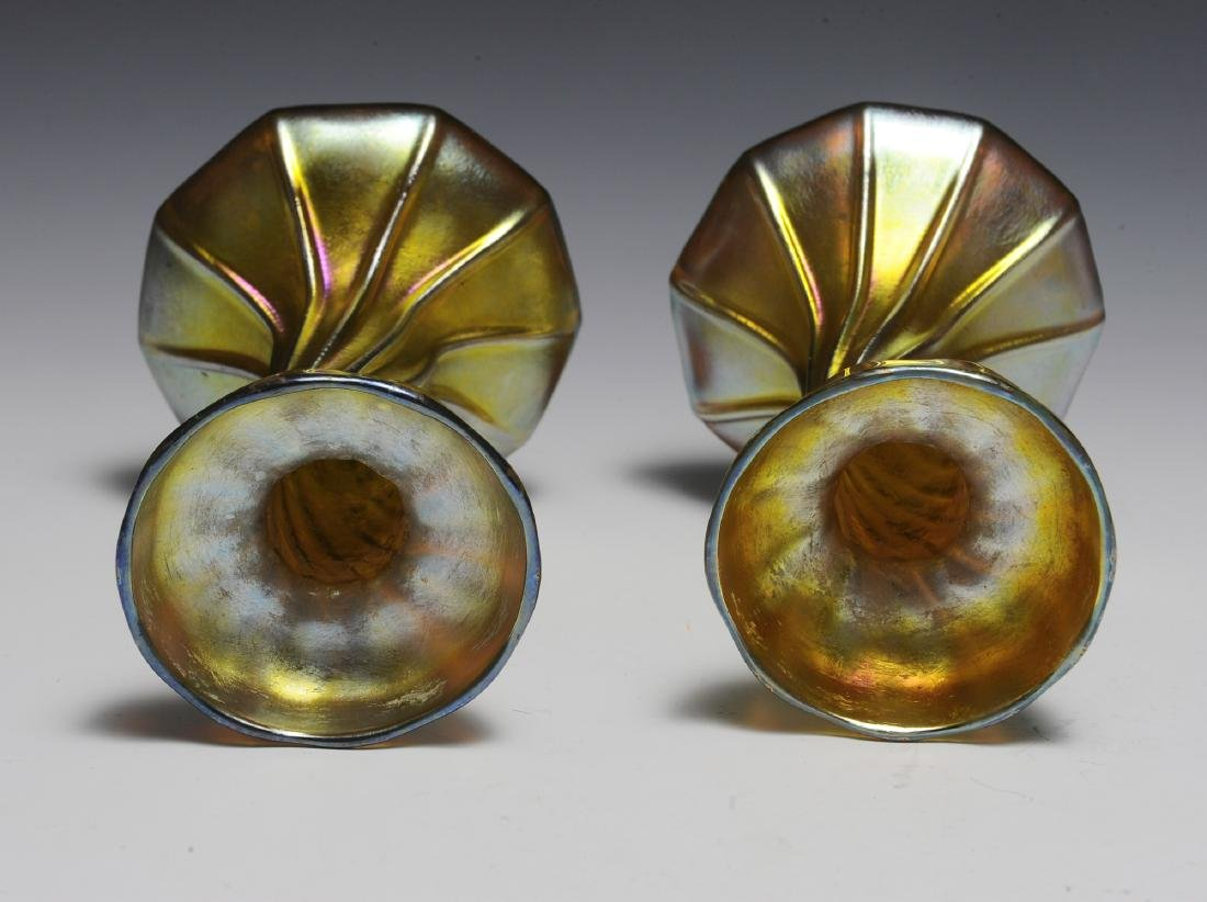 Pair of Tiffany Gold Favrile Candle Sticks - 2