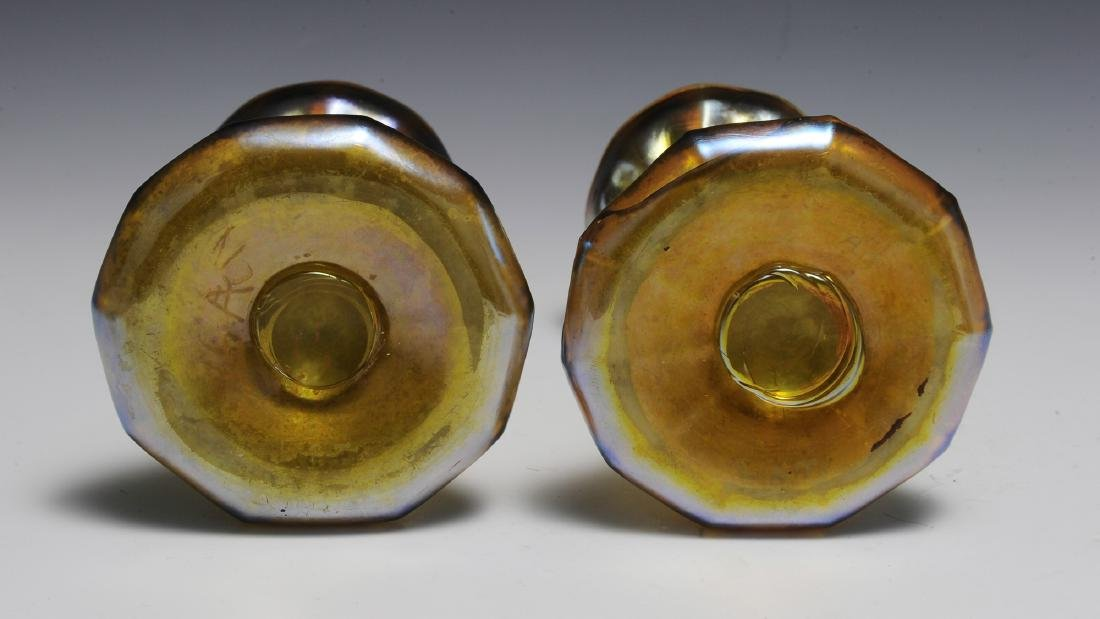 Pair of Tiffany Gold Favrile Candle Sticks - 3