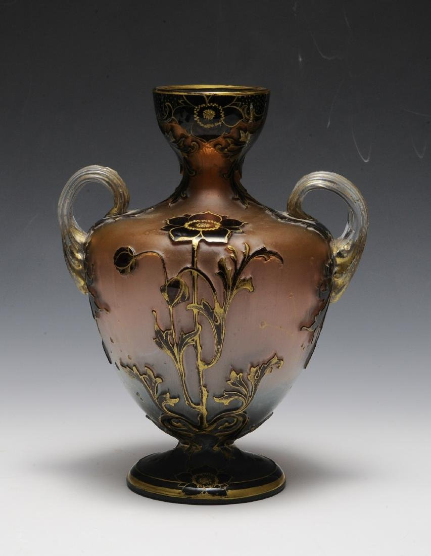 19th Century Ruby, Pink, Blue, Clear & Gold Vase - 3