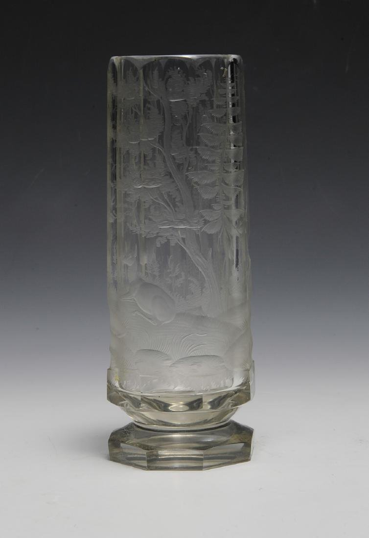 Lead Crystal Vase - Wheel Cut Hunting Scene - 2