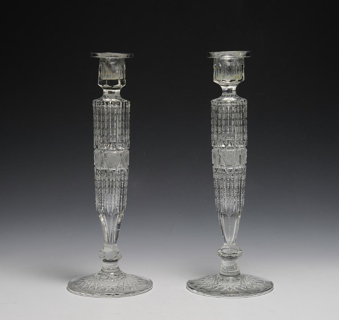 Pair of American Cut Glass Candlesticks