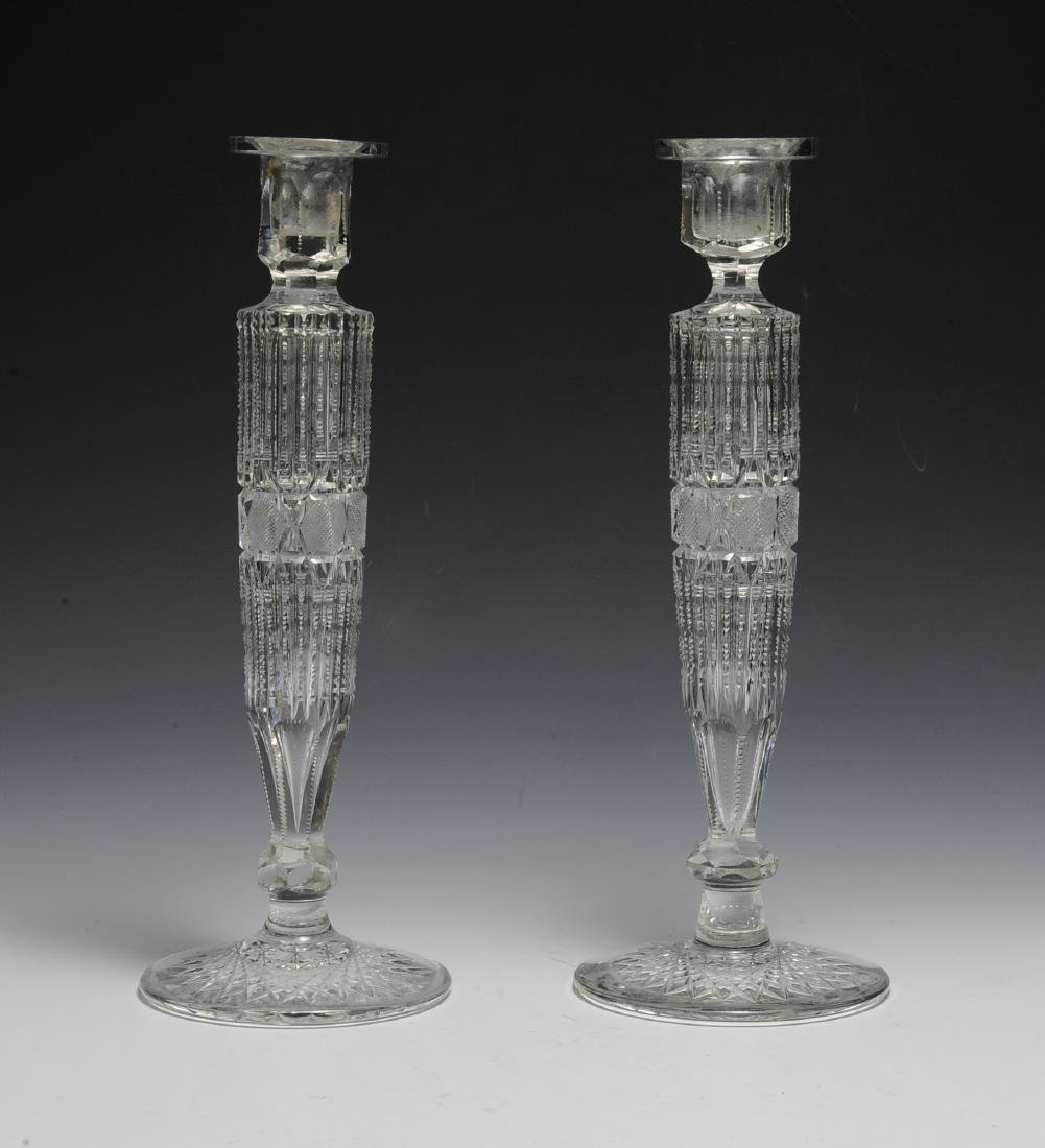 Pair of American Cut Glass Candlesticks - 2