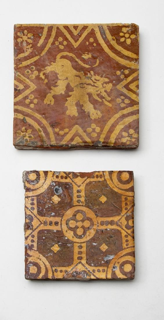 Pair of Medieval 15th Century Floor Tiles