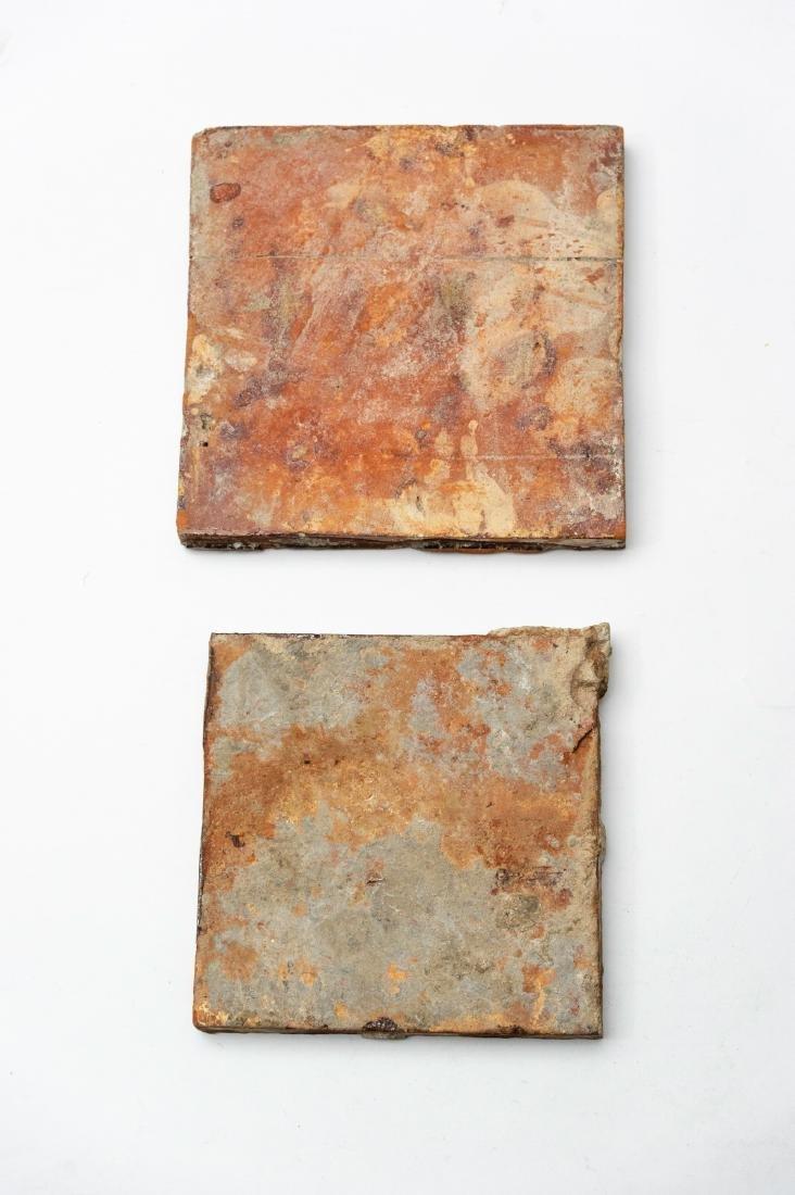 Pair of Medieval 15th Century Floor Tiles - 2