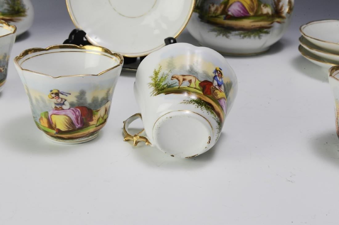 Unmarked Continental Porcelain Tea Set (16) - 6