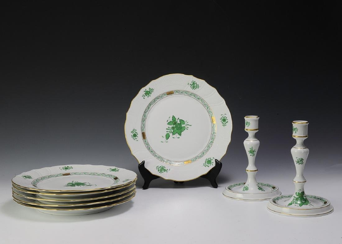 Herend Green Chinese Bouquet Pattern Porcelain