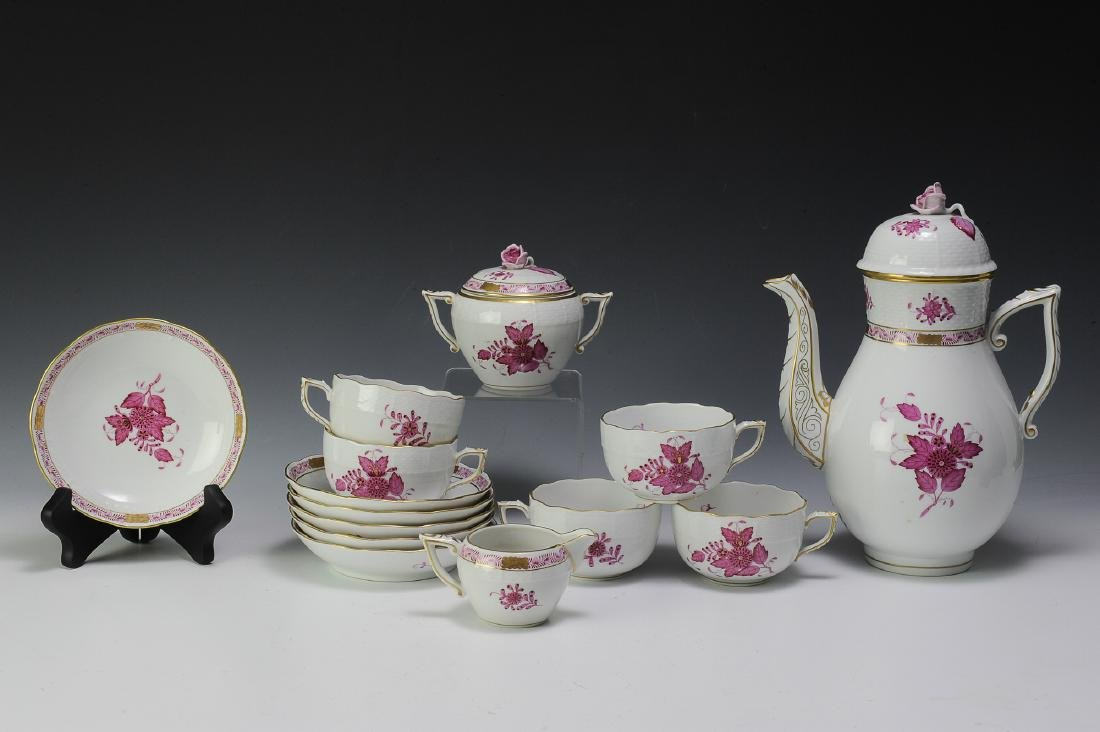 Herend Raspberry Chinese Bouquet Coffee Set (16)