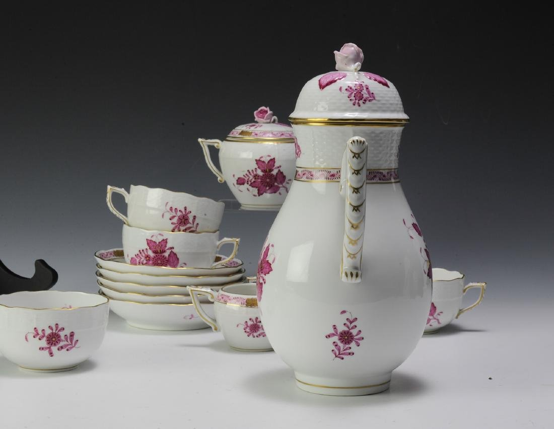 Herend Raspberry Chinese Bouquet Coffee Set (16) - 7