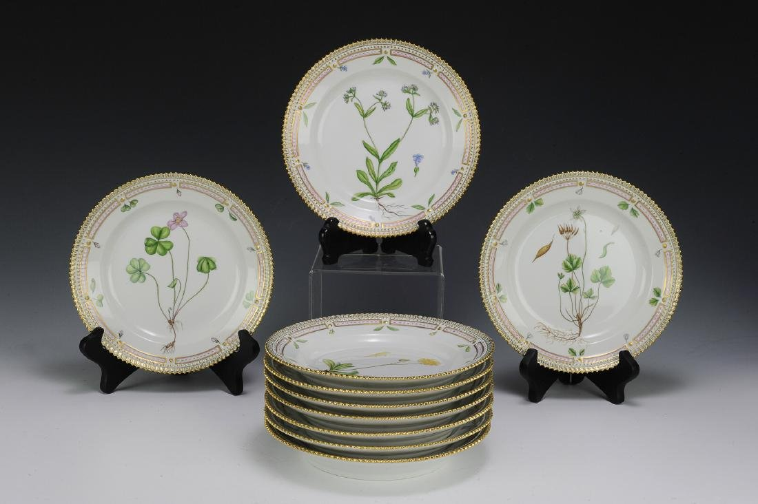 10 Royal Copenhagen Flora Danica Salad Plates