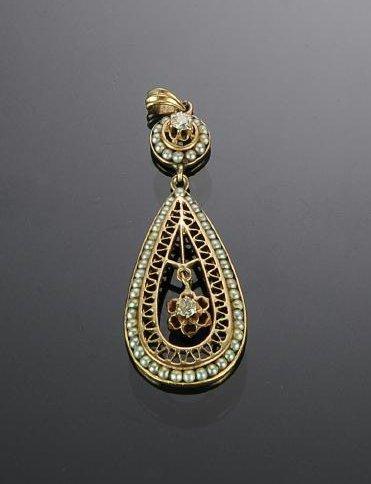 14K Gold, Diamond and Seed Pearl Teardrop Pendant