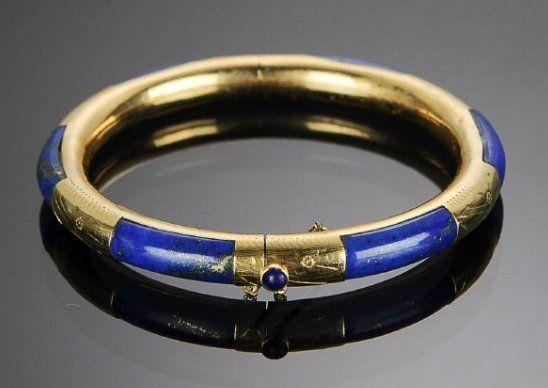 14K Gold and Lapis Lazuli Bracelet
