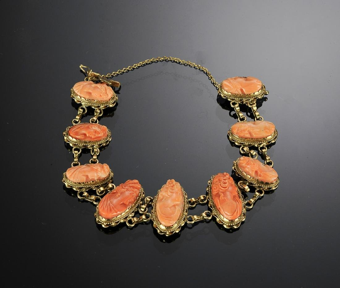 Antique 14K Gold and Carved Coral Cameo Bracelet