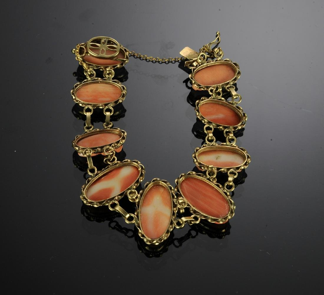 Antique 14K Gold and Carved Coral Cameo Bracelet - 2