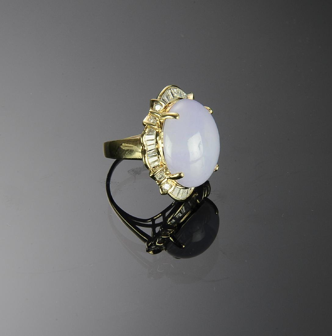14K Gold, Diamond and Lavender Jade Ring