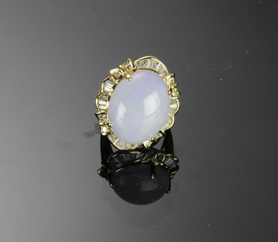 14K Gold, Diamond and Lavender Jade Ring - 2