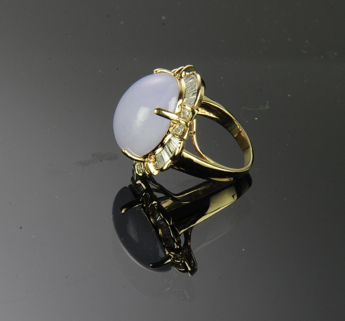 14K Gold, Diamond and Lavender Jade Ring - 3