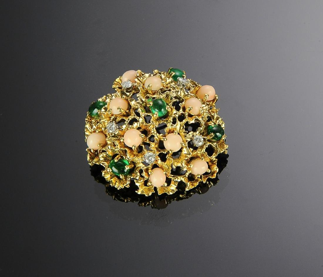 18K Gold, Diamond, Emerald & Angel Skin Coral Pin