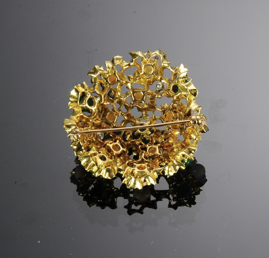 18K Gold, Diamond, Emerald & Angel Skin Coral Pin - 2