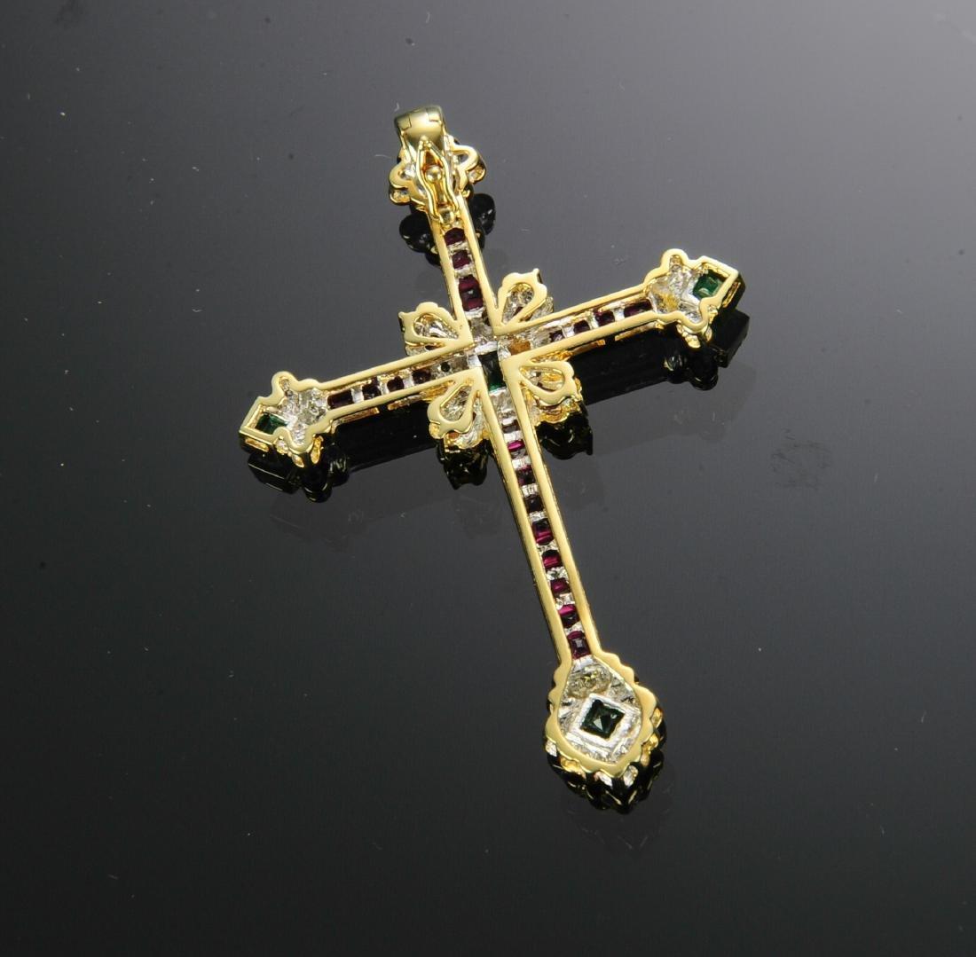 18K Gold, Ruby, Diamond and Emerald Cross Pendant - 2