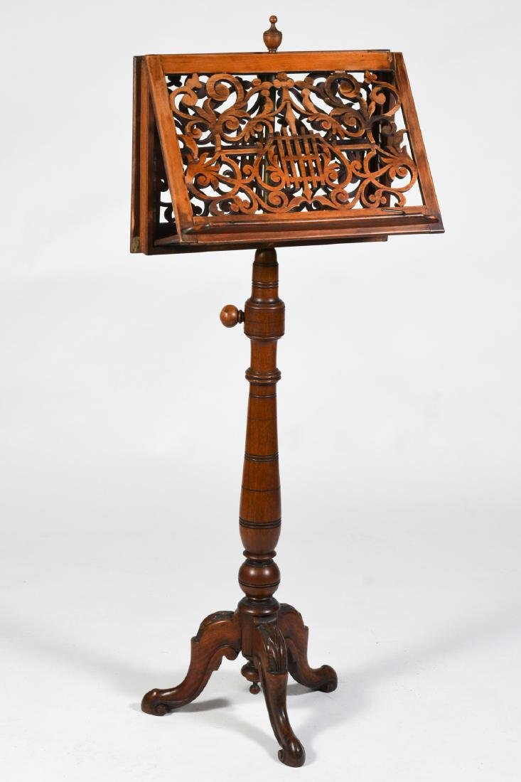Victorian Walnut Music Stand - US Suffragist Owned