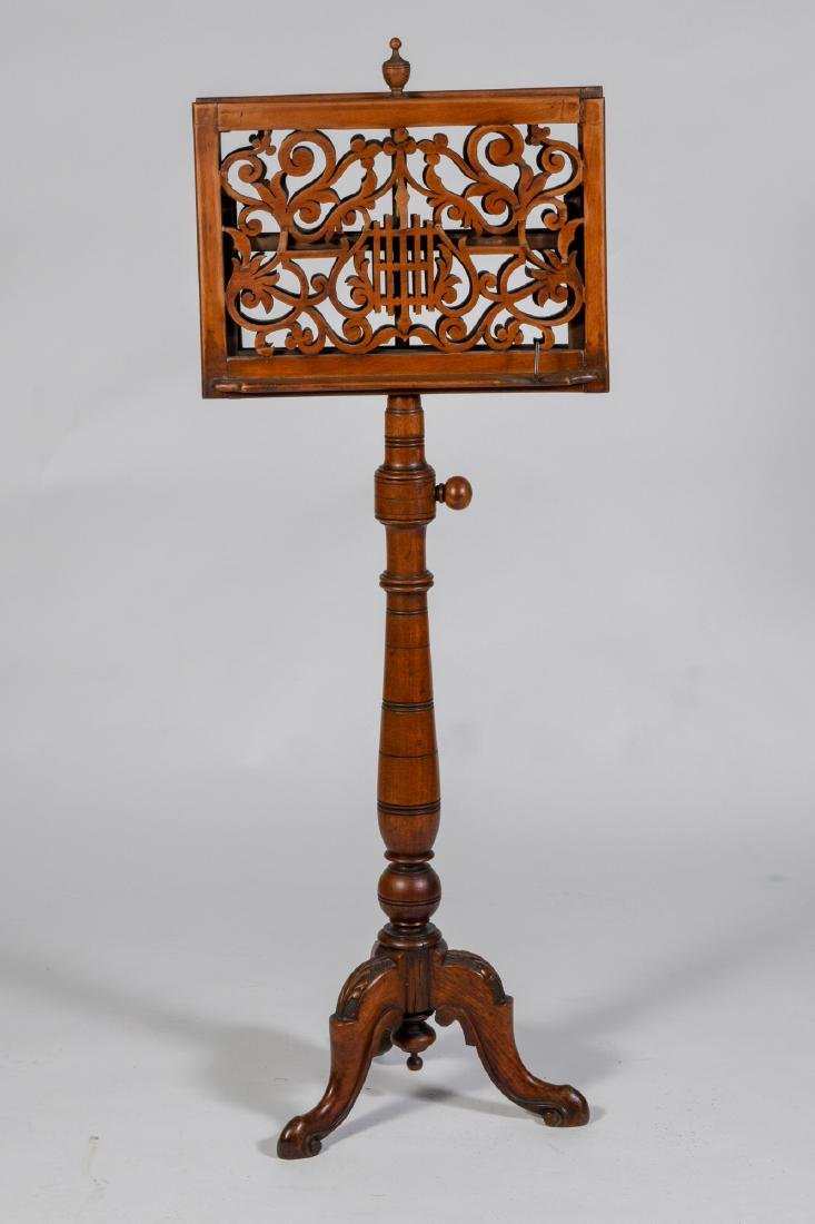 Victorian Walnut Music Stand - US Suffragist Owned - 2