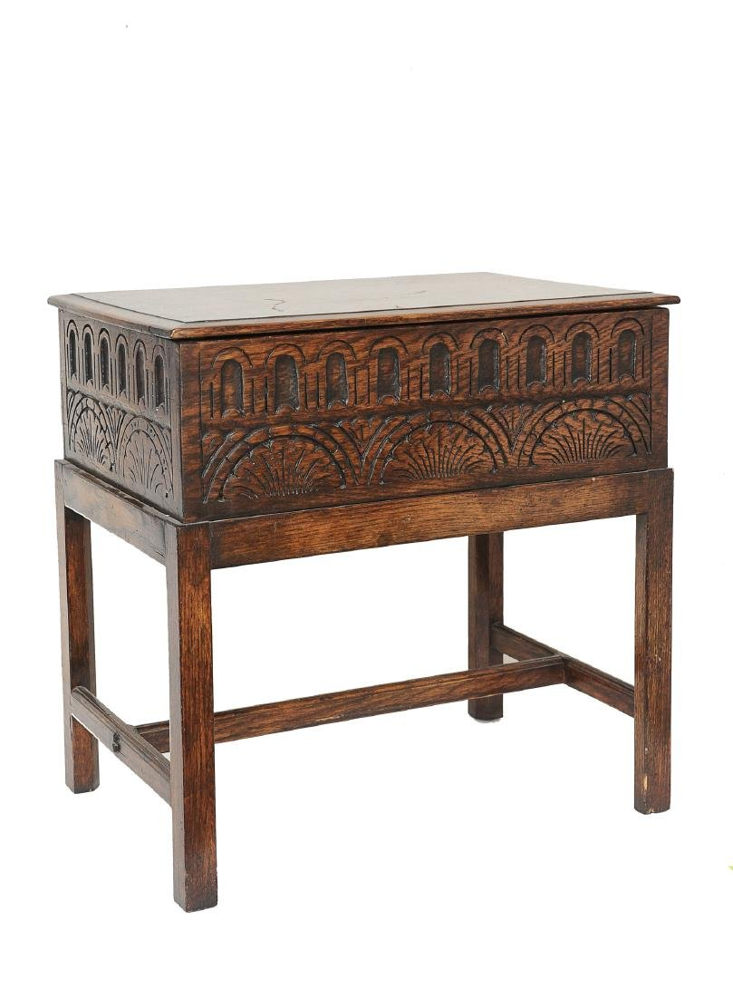Small English Oak Chest on Stand