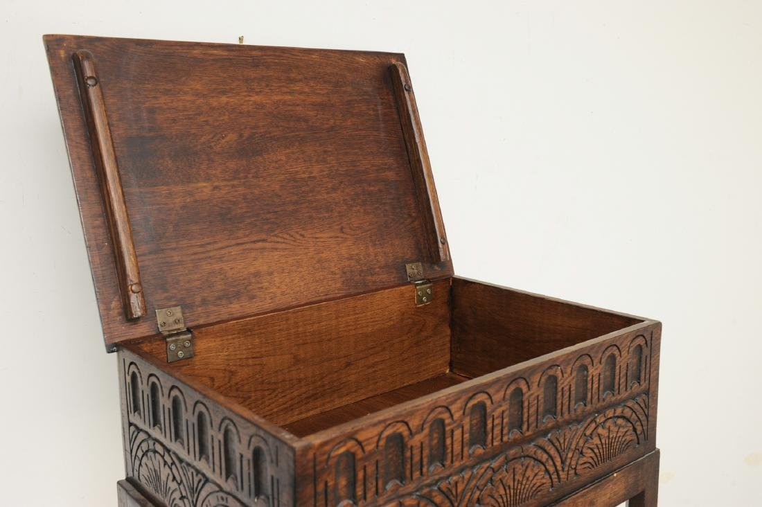 Small English Oak Chest on Stand - 2