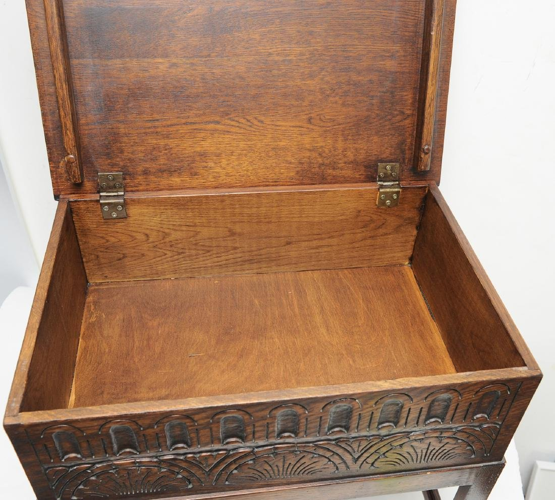 Small English Oak Chest on Stand - 3
