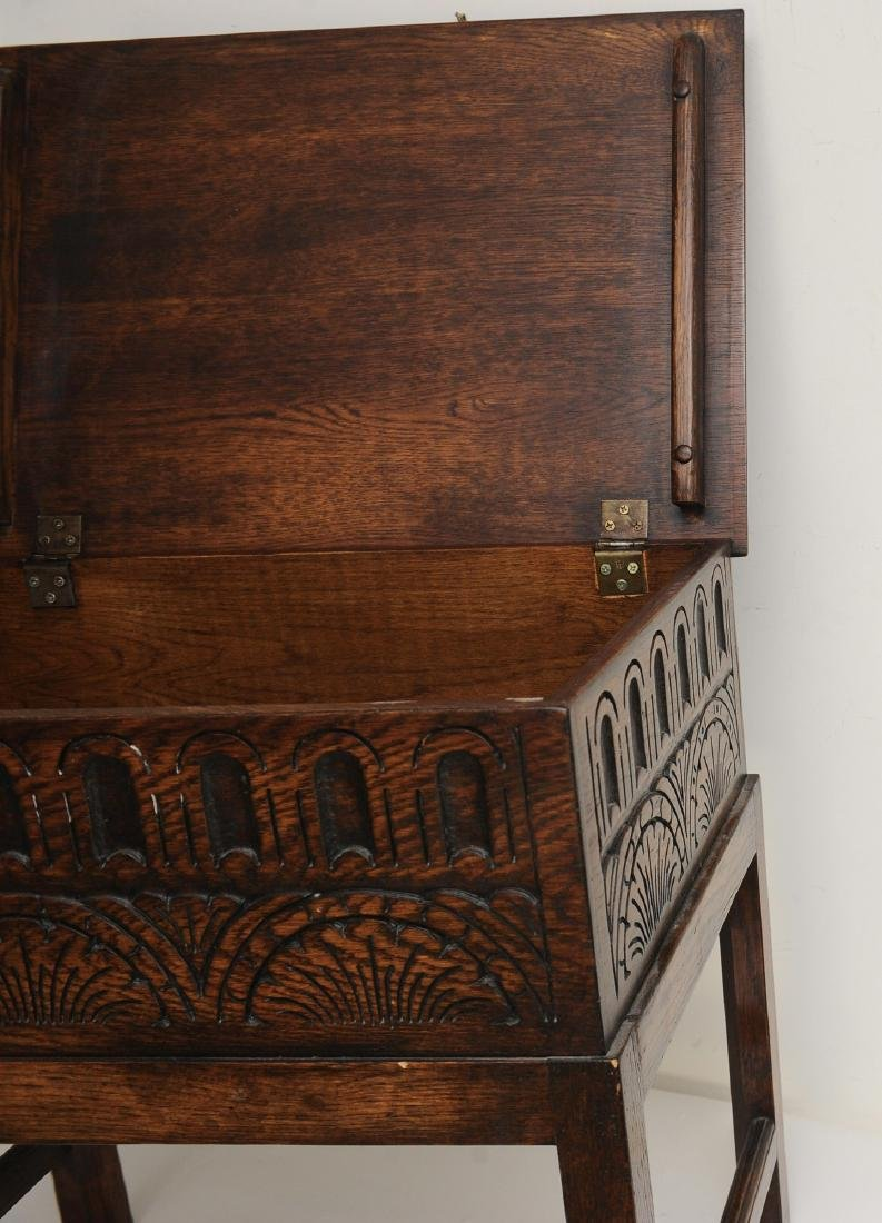 Small English Oak Chest on Stand - 4