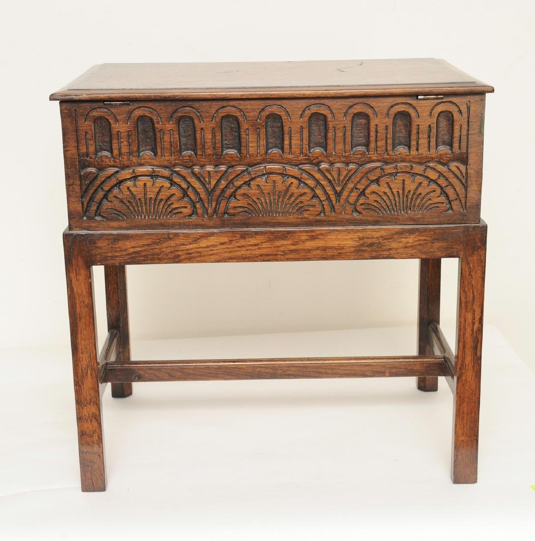 Small English Oak Chest on Stand - 5